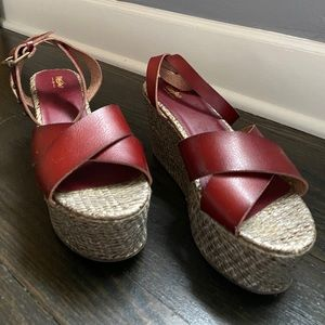 Mossimo Supply Co Maroon Wedge Sandals